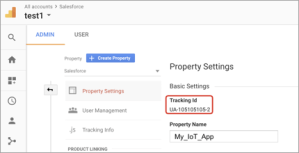 Tracking ID from google analytics. TagoIO IoT.