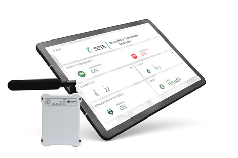 khomp tablet display and device with TagoIO dashboard